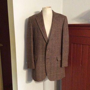 Vintage Brown Plaid Harris Tweed Jacket 40 42